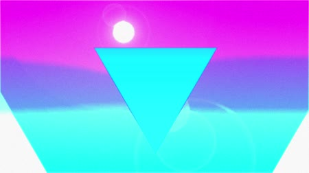 diminishing : Animation of colourful concentric triangles enlarging and diminishing from the centre over a pink and blue background with a rising and falling white sun Stock Footage