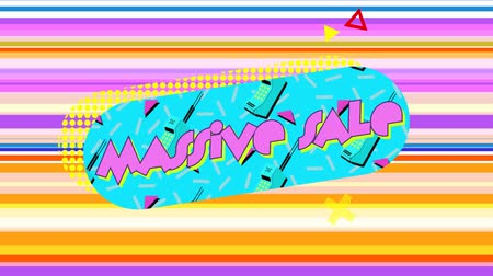 maciço : Animation of the words Massive Sale in pink letters on a blue oval with early mobile phones, while graphic elements move on a muti-coloured horizontally striped background