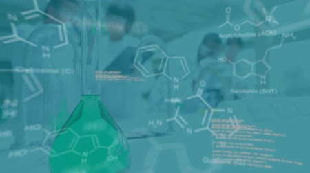 forensic science : Animation of white data and diagrams moving in the foreground while a team of working sceintists lab coats and a flask of green liquid in a laboratory are seen defocussed in the background Stock Footage