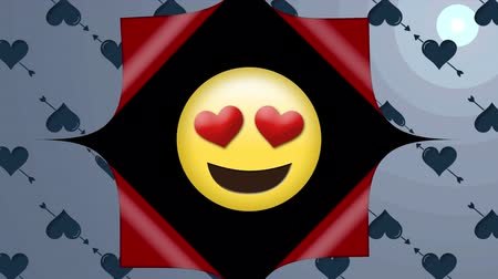 hiding : Animation of blue heart and arrow patterned wallpaper opening from the centre to reveal red underside and and a happy yellow emoticon with pulsating red heart shaped eyes on a black background, before closing up again
