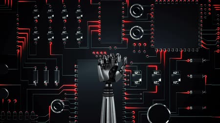 перевод : Animation of metal robot hand clenching and unclenching fist over a computer circuit board, glowing with red light trails of processing activity, scrolling from top to bottom of screen Стоковые видеозаписи