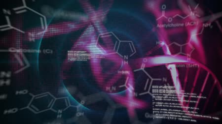 forense : Animation of turning 3d pink DNA models and rings of blue light, with white text and diagrams moving in the foreground, on a black background