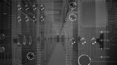 szervez : Animation of computer circuit board scrolling from top to bottom of screen, with a black and white image of a corridor in a computer room in the background