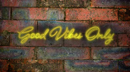 positive vibes : Animation of the words Good Vibes Only in handwriting style flickering yellow neon on a red brick wall background Stock Footage