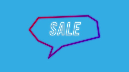 angular : Animation of the word Sale in white outline letters appearing in an angular red and purple speech bubble on a solid blue background