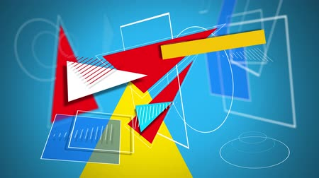 going round : Animation of colourful geometric shapes and white outlines appearing around a yellow triangle and converging on a blue background, then disappearing leaving the yellow triangle