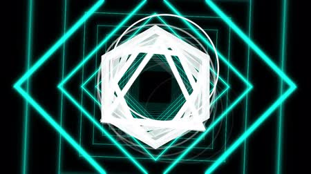 hexagon glow : Animation of enlarging and distorting blue outline diamond shapes on a black background with spinning white triangles, hexagons and circles