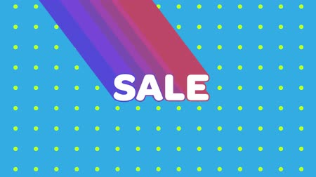 afbouw : Animation of the word Sale appearing from top left in white letters with trails in purple to pink against a blue background with green pulsating dots
