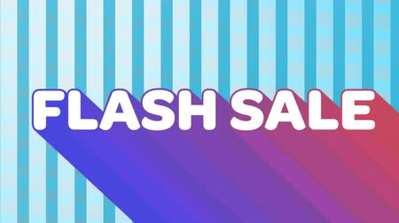 flash sale : Animation of the words Flash Sale appearing from bottom right in white letters with trails in purple to pink against a background with flashing blue stripes