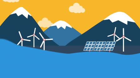 planety : Animation of sea waves, turning wind turbines and solar panels against snow capped mountains and a yellow sky