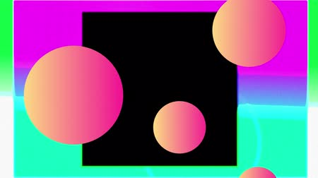 concêntrico : Animation of orange floating spheres, over concentric colourful squares enlarging over pink sunset, finishing with black background Vídeos