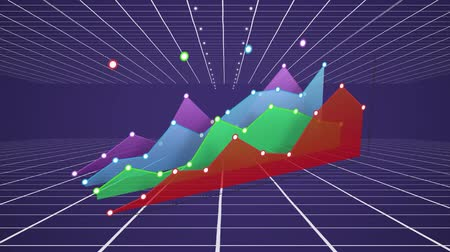 comparar : Animation of colourful 3d graph in red, green, blue and purple building over a purple background with a grid top and bottom mowing towards the horizon Stock Footage