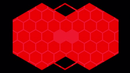 csatlakozott : Animation of a kaleidoscope of red hexagons and lines moving outwafds on a black background and ending with two joined hexagons filed with a pattern of small pale hexagon outlines Stock mozgókép