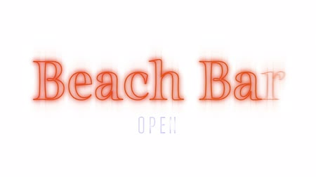 indicating : Animation of a flickering sign with the words Beach Bar written in orange and Open written in lilac on a white background Stock Footage