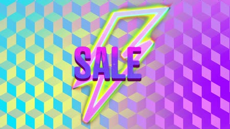 espectador : Animation of lightning flash symbols enlarging towards viewer and the word Sale written in pink and purple appearing on a yellow, pink and blue striped outline lighting flash shape, with a changing background of colourful cubes