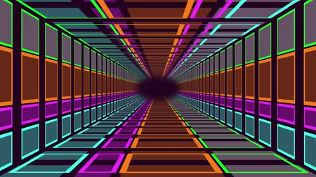 неон : Animation of travelling through a neon lit rectangular tunnel towards a black vanishing point on the horizon Стоковые видеозаписи