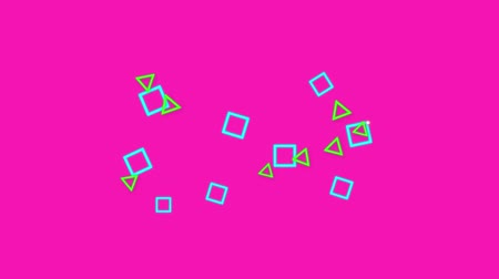 exiting : Animation of blue square and green triangle outlines appearing on the left side of a bright pink background, floating in the middle and then exiting quickly to the right Stock Footage