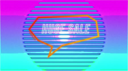 угловой : Animation of the words Huge Sale in white outline appearing in an angular orange speech bubble while colourful moving concentric circles formed from parallel lines move behind, returning to a solid blue background Стоковые видеозаписи