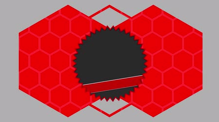 triângulo : Animation of white, grey, red and black sawtoothed circles landing on top of each other on a grey background while a red hexagon outline appears around them and divides into two red filled hexagons before the sawtoothed circles disappear