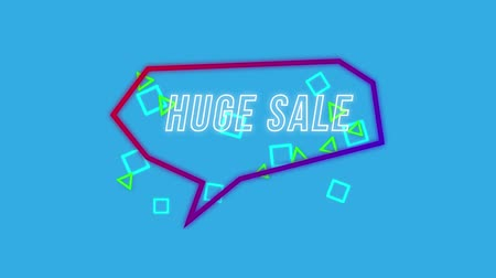 angular : Animation of the words Huge Sale written in white outline capital letters appearing, with small blue squares and green triangles, in an angular red and purple speech bubble on a blue background