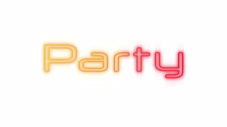 указывать : Animation of the word Party in flickering yellow and red neon letters on a white background