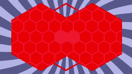 csatlakozott : Animation of turning grey and white striped background with red hexagon outlines emanating from the centre and two joined filled red hexagons with pale hexagon pattern