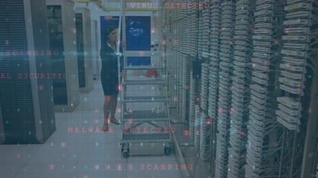 сосредоточиться на переднем плане : Animation of a Caucasian woman pushing ladder on wheels in the corridor of a computer server room checking connections while digital text about data security moves and flashes in the foreground