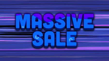 párhuzamos : Animation of the words Massive Sale in colour filled black outline appearing on a colourful moving background changing to blue letters with rising blue rings against a background of moving horizontal purple lines