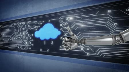jóváhagyás : Animation of glowing white points moving on a computer circuit board and a flashing blue cloud icon with arrows moving to and from it, with a robot arm extending in the foreground and making a thumbs up gesture Stock mozgókép