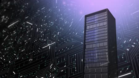 материнская плата : Animation of mainframe computer tower in front of computer circuit board with glowing white light trails, a pink light shining from top right