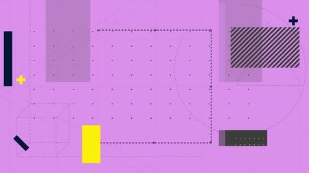 kursor : Animation of computer software pen tool drawing lines and cursor removing section between grey, lined and yellow rectangles on a pink grid background then replacing it