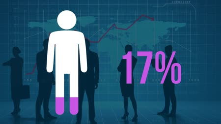 demographic : Animation of person shape and percentage rising from zero to one hundred filling in pink over moving image of silhouetted figures in front of a world map on a blue background