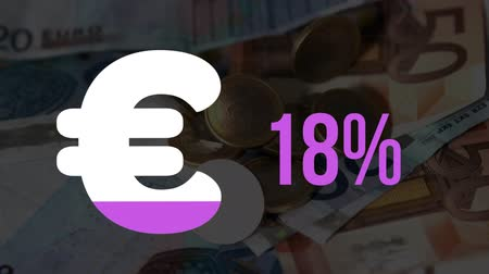 esterlino : Animation of Euro currency symbol and increasing percentage numbers filling with pink and reaching one hundred per cent while cojns fall on Euro banknotes in the background