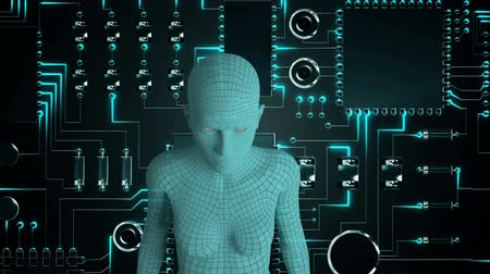 интегрированный : Animation of a 3d female human representation or android seen from the waist up in front of a computer circuit board with moving glowing blue light trails