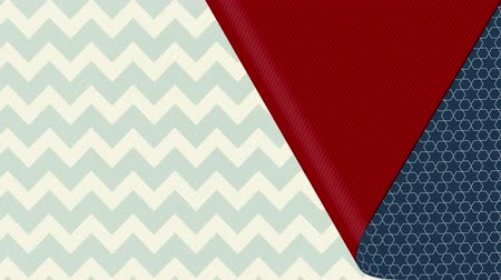 vystavený : Animation of blue patterned wallpaper peeled back from the bottom left to reveal red underside and white and grey zigzag pattern wallpaper below, before covering it up again Dostupné videozáznamy