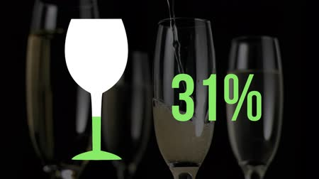 価値 : Animation of empty wine glass symbol and increasing percentage from zero to one hundred filling in green on a background close up of wine being poured into glasses