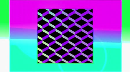 уменьшающийся : Animation of colourful concentric squares enlarging and diminishing from the centre over a pink sunset, with a background of a reflective diamond shaped grid chaning colour from yellow to blue to purple, against black