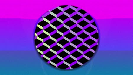 concêntrico : Animation of colourful concentric circles enlarging and diminishing from the centre over a pink sunset, with a background of a reflective diamond shaped grid chaning colour from yellow to blue to purple, against black