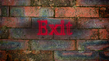 indicating : Animation of the word Exit in flickering red neon on a red brick wall