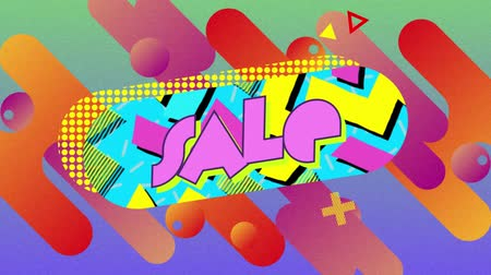вертикально : Animation of the word Sale in pink filled letters in a blue capsule shape with moving elements while pink, red and orange capsules, circles and h shapes enter diagonally on a green background, turn and leave vertically revealing a bright pink background