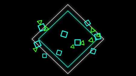 csatlakozott : Animation of small squares and green triangles which are joined by a large blue and white diamond outlines with a ripple of distortion, and then disappear, on a black background