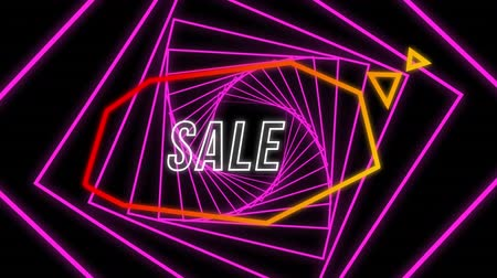 угловой : Animation of the word Sale in white outline letters in an orange angular speech bubble with a turning pink fractal spiral behind on a black background