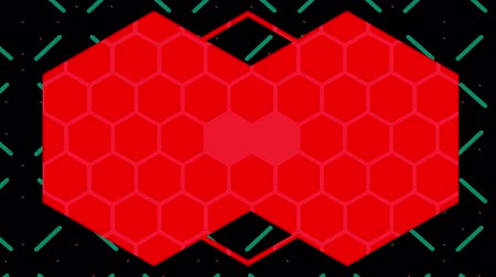 csatlakozott : Animation of a kaleidoscope of red hexagons and lines moving outwards on a black background with a pulsing grid of elongting green lines, and ending with two joined hexagons filed with a pattern of small pale hexagon outlines