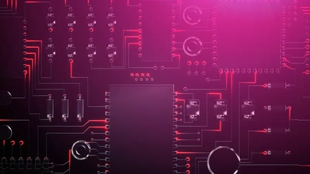 バイト : Animation of a pink lit computer circuit board with glowing red light trails moving through it, scrolling from top to bottom