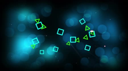 négyzet : Animation of small blue squares and green triangles arriving and disappearing on a background of defocussed blue lights on a black background Stock mozgókép