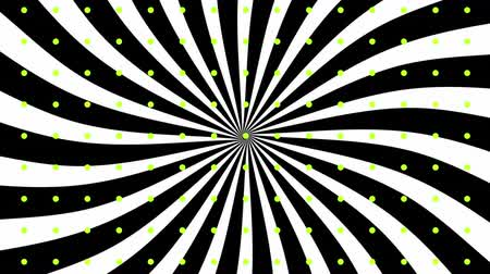 kinetik : Animation of revolving white stripes against a black background with pulsating green dots Stok Video
