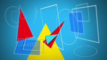 dikdörtgenler : Animation of red, blue and yellow filled and white outline geometric shapes, converging on a blue background and disappearing, leaving a yellow triangle behind