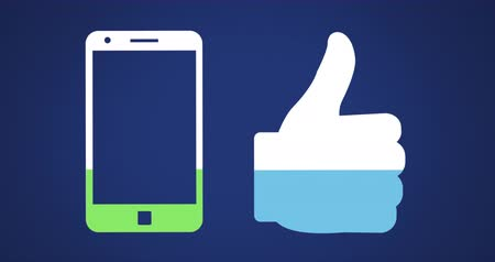 価値 : Animation of smartphone and thumbs up shape filling up with green and blue on dark blue background 4k