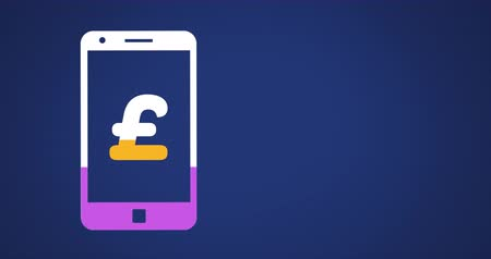 esterlino : Animation of pound sterling symbol on smartphone screen filling up with pink and yellow on dark blue background 4k