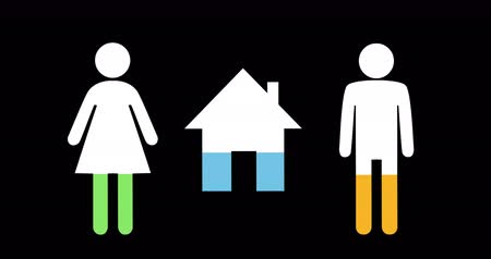 demographic : Animation of male, female and house shapes filling up with green, blue and yellow on black background 4k